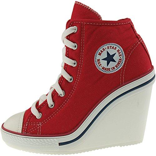 Maxstar 777 latérales zippées-Wedge Chaussures à talons Rouge - rouge