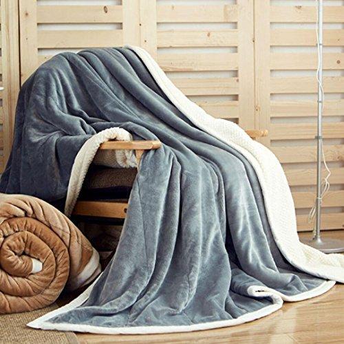 WDZA Plus d'hiver Épais Manteau Cashmere Gris Couverture De Loisirs, 150X200Cm