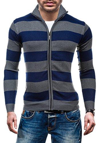 BOLF - Pull - Tricot – Sweatshirt – Fermeture éclair – S-WEST 6018 - Homme Gris