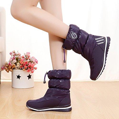 yjnb nuovo inverno stivali da neve impermeabile caldo stivali women-in-tube, per scarpe da donna, D168 purple, 40EU/7UK/9US
