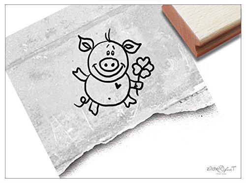Stempel - Kinderstempel Glücks-schwein, sau, ferkel mit Kleeblatt - Niedlicher Motivstempel für große und kleine Hände - Bildstempel von zAcheR-fineT (Kleeblatt Stempel)