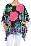 Nachtigall+Lerche Kimono Bluse Abend-Bluse Tunika Shirt Damenbluse Überwurf Stola Chiffon in vielen bunten Farben - One Size, auch für große Größen (Blue-Pink)