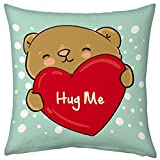 Valentine Gifts for Boyfriend Girlfriend Love Printed Cushion 12X12 Filled Pillow Light Green Hug Me Teddy Bear Gift for Her Him Fiance Spouse Birthday Anniversary+E726