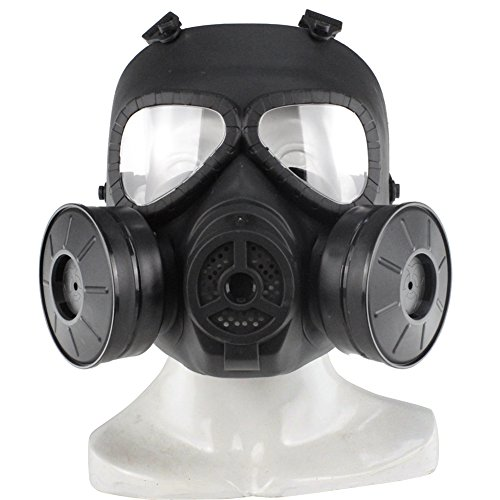 Schädel-gesicht-masken (Airsoft Maske Outdoor Sport Tactical Paintball Maske Voll Gesicht Schädel CS Maske mit Doppel Filter Fan UV-Proof)