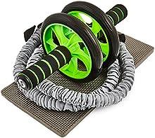 Sportastisch - Extreme Ab Roller - Rueda doble para ejercitar los abdominales - N.º 1 en varios test de calidad - Con 2 bandas de resistencia para entrenar de forma personalizada - Estable y seguro - Esterilla cómoda para las rodillas - Fácil de mont
