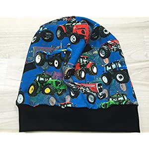 Beanie Mütze Trecker blau Digitaldruck Kopfumfang 45-48 cm gefüttert