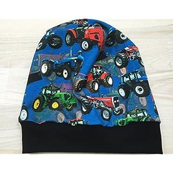 Beanie Mütze Trecker blau Digitaldruck Kopfumfang 55-60 cm