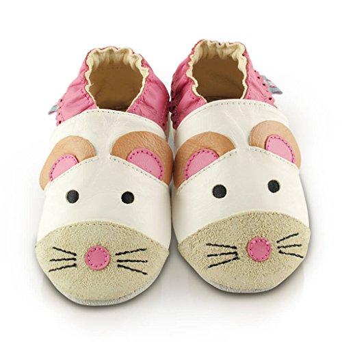 Snuggle Feet - Chaussons Bébé en Faux Cuir Doux - Jolie Souris (6-12 mois)