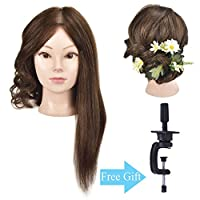 "18"" Training Head 100% Human Hair Mannequin Head Manikin Doll Head Hair Styling Head with Free Clamp"