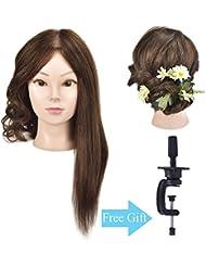 40,6cm 100% cheveux humains Cosmétologie Mannequin Mannequin tête d'entraînement avec support de serrage pour table