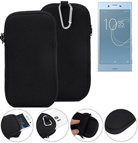 K-S-Trade Neopren Hülle für Sony Xperia XZs Dual SIM Schutzhülle Neoprenhülle Sleeve Handyhülle Schutz Hülle Handy Gürtel Tasche Case Handytasche schwarz