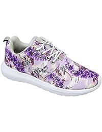 GIBRA® Damen Sneakers, sehr leicht und bequem, lila bunt mit Blumenmuster, 31c0285744