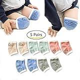 ECHERY 5 Stück Crawling Baby Knieschoner Anti-Rutsch-Knieschützer Unisex-Baby-Kleinkinder-Ellenbogen-Knie-Schoner Für 0-3 Jahre