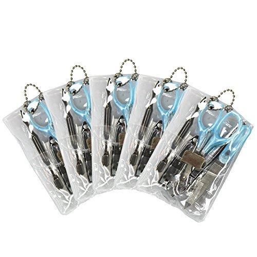 Com-Four ® Mini pédicure manucure Set pour les déplacements 5 x 5 pièces Transparent