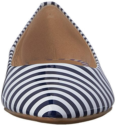 Nine West Onlee Toe Pointy synthétique plat White/Navy Synthetic
