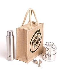 Nisol Food Inside Classic Printed Lunch Bag | Tote | Hand Bag | Travel Bag | Gift Bag | Jute Bag