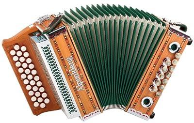 "Alpenklang ""Mini"" Massiv aus Kirschholz (B-Es-As Stimmung, 31 Knopftasten, 11 Helikon-Bässe, 3-reihig, inkl. Rucksack-Case"
