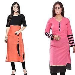 Vatsla Women's Cotton Stitched Regular Wear Kurta (Combo Pack Of 2) (VCR-009_Combo )