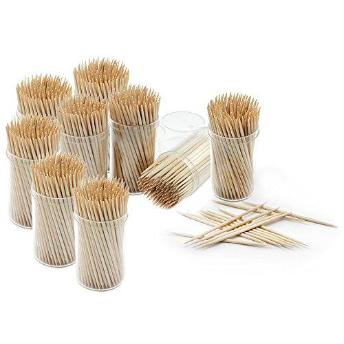 Com-Four® Lot de 1350 cure-dents en bois 65 mm de long Dans 9 boîtes de 150 pouvant servir de distributeur