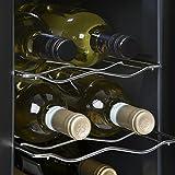 KLARSTEIN Ceres – Weinkühlschrank, Getränkekühlschrank, 16L, 6 Flaschen, 2 Einschübe, 12-18° C, verspiegelte Glastür, Innenbeleuchtung, freistehend, Türanschlag Links, 38 dB leise, schwarz - 5