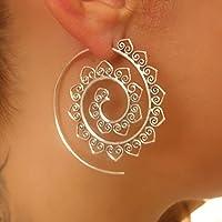 orecchini d'argento - orecchini a spirale d'argento - orecchini gitani - orecchini tribali - orecchini etnici - orecchini indiani - orecchini di dichiarazione - grandi orecchini - gioielli d'argento - gioielli tribali