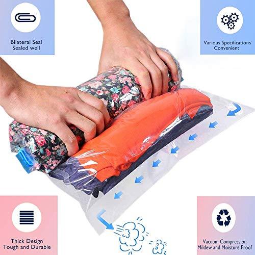 Lzhy 4 Stück, Vakuumbeutel für Kleidung, Kompressionsbeutel ohne Staubsauger, Kompressionsbeutel-Platzsparer für Reise & Urlaub Decken/Handtücher (35 * 50/40 * 50/40 * 60/50 * 70 cm)