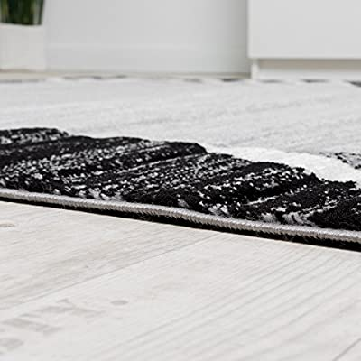 Living Room Rug Designer Border Flecked Grey Black Cream Unbeatable Deal - low-cost UK light store.