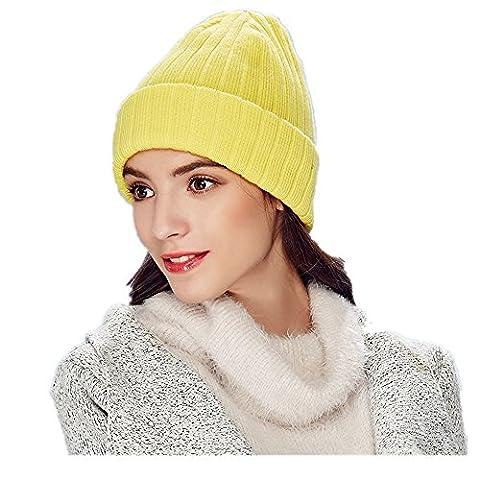 Kenmont Acryl & Wolle Feinstrick Beanie Mütze Cuff Kabel Strickmütze Fold Watch Winter Hüte für Männer Frau (Gelb)