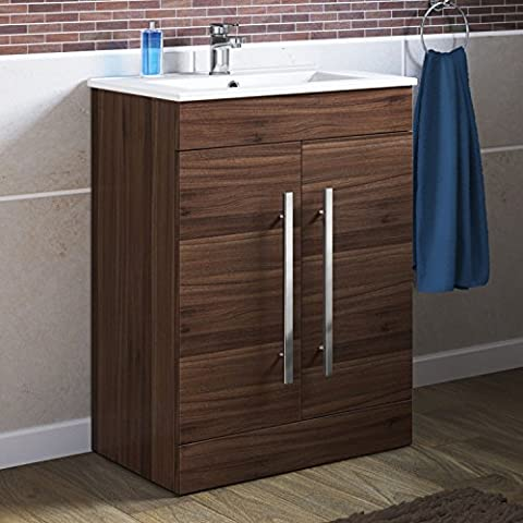 600 mm Walnut Vanity Sink Unit Ceramic Basin Bathroom Storage Furniture MV801