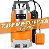 FUXTEC Teichpumpe FX-TP11100 Schmutzwasserpumpe Tauchpumpe 1100 Watt, max. 20000 l/h, max. 7 m Förderhöhe, Fremdkörper bis 35 mm, stufenloser Schwimmerschalter