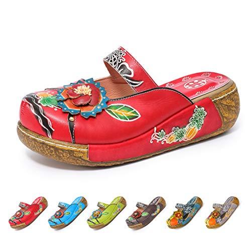 Gracosy Merceditas cuña Chanclas Zapatos Mujer Cuero