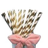 Glänzende dekorative Papier-Trinkhalme, gold-weiß gestreift, für Partys, Hochzeiten, Jahrestage und andere Anlässe, 100Stück