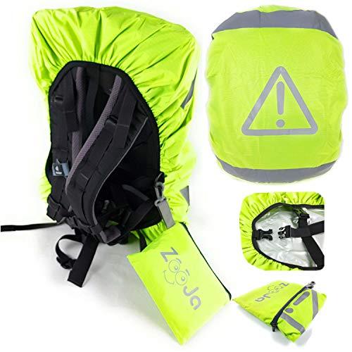 ZooJa® Wasserdichter Schulranzen Regenschutz mit Reflektoren als Regenhülle für Rucksack und Kinder Ranzen mit Reflektor Tasche neon gelb 30l - 40l