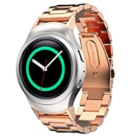 Watch Band, Hasee Stainless Steel Strap + Connector for Samsung Gear S2 RM 720, Rose Gold (Repair Tool Included)
