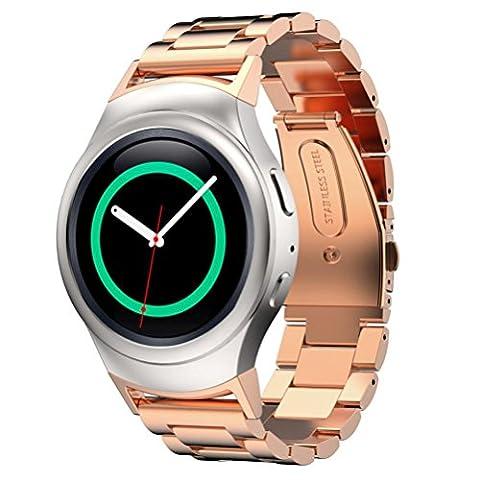 Hasee Bracelet en acier inoxydable pour montre + connecteur pour Samsung Gear S2 RM-720, outils de réparation inclus, adulte mixte, Or rose