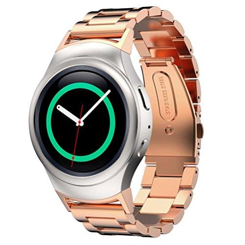 HASEE Armband der Edelstahl + Anschluss für Samsung Gear S2rm-720(Repair Tool enthalten), unisex - erwachsene, roségold (Band Watch Metal 2 Gear)