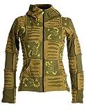 Vishes – Alternative Bekleidung – Mit Blumen Bestickte Patchwork Jacke aus Baumwolle, mit Zipfelkapuze olivegrün 34
