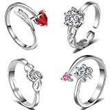 #8: Om Jewells CZ Jewellery Combo of 4 Charismatic Adjustable Solitaire Finger Rings Designed for Girls and Women CO1000117