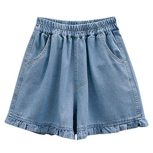 Beladla donna jeans larghi pantaloncini vita alta a pieghe denim shorts ragazza push up bermuda pantalone corto mare spiaggia pantaloncino con elastico in vita con tasche