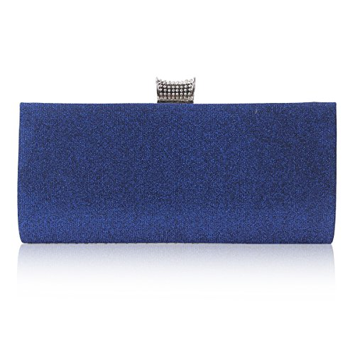 Damara® Damen Bling Paillette Strass Clutch Abendtasche Silber