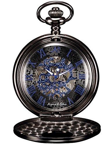 7 - KS Reloj de Bolsillo Hombre con Cadena Esqueleto Mecánico Steampunk Negro KSP032