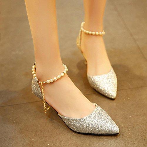 huateng Scarpe da Donna con Punta a Bocca Bassa Scarpe con Tacco Alto da Donna Scarpe con Cinturino di Perle Tacco Basso (Oro) Argento