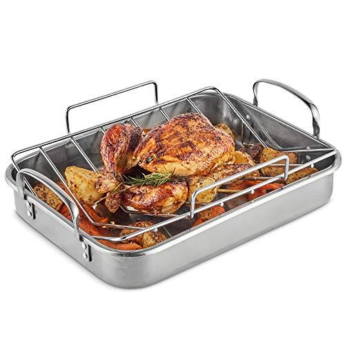 VonShef Plat à rôtir avec grille en acier inoxydable - Idéal pour le poulet rôti, le rôti de dinde, les gigots et les légumes