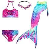 UrbanDesign Coda di Sirena per Nuotare Costumi da Bagno Bikini 4pcs per Ragazze (5-6 Anni, Orchidea)