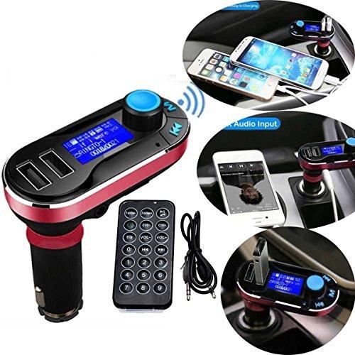 5in1 drahtlose Bluetooth Car Music-Player-FM Transmitter Dual USB KFZ-Ladegerät Unterstützung SD / TF Karte Freisprechen für iPhone6 6S 6Plus 5s Samsung Galaxy HTC, LG, Sony Ipad Pro Tablets Mp3 Mp4 Player (rot) Fm-transmitter Iphone6
