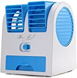 Mini Fan & Portable Dual Bladeless Small Water Air Cooler Oprate by USB & Battery Use of Car/Home/Office