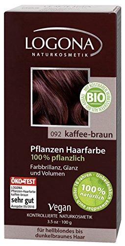 LOGONA Naturkosmetik Coloration Pflanzenhaarfarbe, Pulver - 092 Kaffee-Braun - Braun, Natürliche & pflegende Haarfärbung (100g)