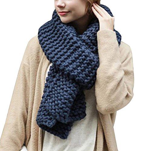 Hownew-X Damen Strickschal Lang XXL Warme Grobstrick Schal Oversize Winterschal, 190 x 32cm (One Size, Blau)
