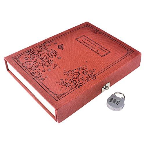 Preisvergleich Produktbild Notizblöcke,  iTECHOR Portable Retro-Stil gebunden Tagebuch Notizbuch Journal Notizblock mit codierten Lock - Rot