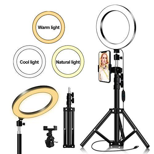 Thlevel Luz de Anillo de 7.9' con Soporte de trípode para Selfie Maquillaje Transmisión en Vivo y Video de Youtube Luz LED de cámara (Type A)